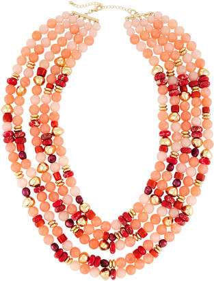Lydell NYC Multi-Strand Necklace w/ Pearls, Pink