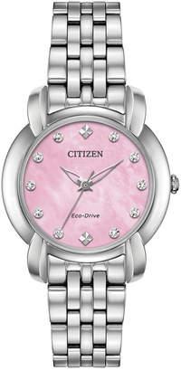 Citizen Eco-Drive Women Jolie Diamond-Accent Stainless Steel Bracelet Watch 30mm