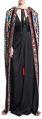 Naeem Khan Tie-Neck Embroidered Cape