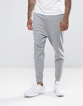 Asos Drop Crotch Joggers In Grey Marl