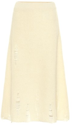 Jil Sander Distressed mohair and silk skirt