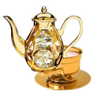 Swarovski Crystal Delight by Mascot Coffee Pot Tea-Light..... With Clear Austrian Crystal