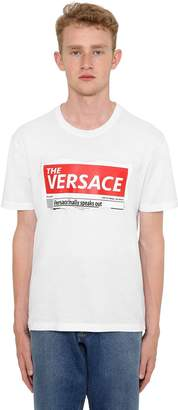 Versace Tabloid Printed Cotton Jersey T-Shirt
