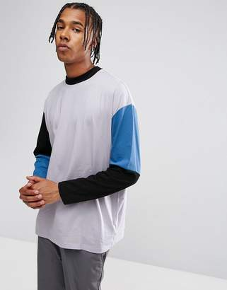 Asos Design Oversized Long Sleeve T-Shirt With Cut And Sew Colour Block