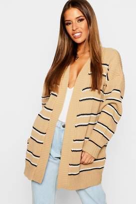 boohoo Petite Stripe Oversized Cardigan