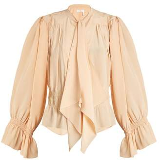 Chloé Tie Neck Gathered Silk Crepe De Chine Blouse - Womens - Beige