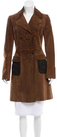 pradaPrada Suede Crochet-Accented Coat