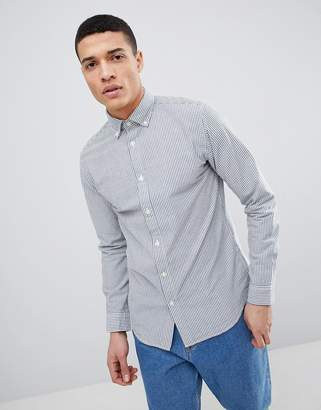 Selected Slim Fit Stripe Seersucker Shirt