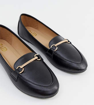 e18496590ee8 Raid Wide Fit RAID Wide Fit Viera Black leather look Snaffle Detail Flat  Shoes
