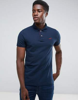 Hollister Polo Stretch Pique Icon Logo Slim Fit in Navy