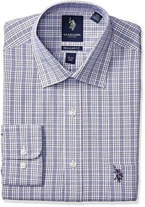 U.S. Polo Assn. Men's Glen Plaid Semi Spread Collar Dress Shirt