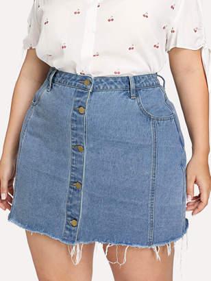 cc64e00914 Shein Plus Raw Hem Button Through Denim Skirt