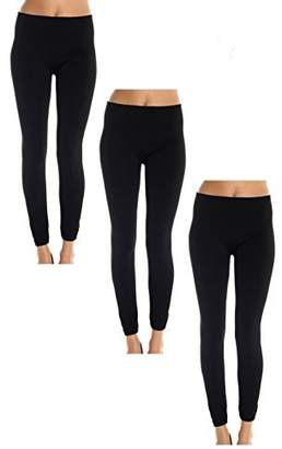American Casual Women's 3 Pack Fleece Lined Leggings (Large/X-Large-Black )