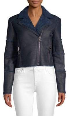 J Brand Aiah Shearling Leather Moto Jacket