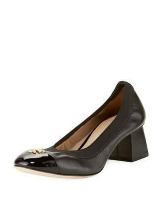 Tory Burch Jolie Logo Leather 50mm Pump, Black $285 thestylecure.com