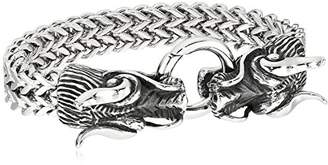 Dragon Optical Crucible Jewelry Mens Polished Stainless Steel Twin Double Strand Franco Chain Bracelet (17mm)