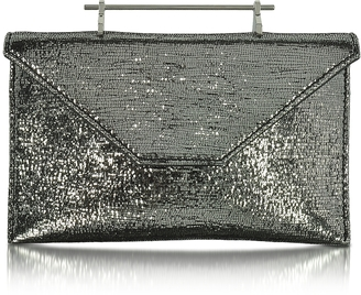 M2Malletier Annabelle Black Metallic Textured Fabric Clutch w/Chain
