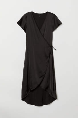 H&M Short-sleeved Wrap Dress - Black