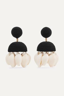 Rebecca De Ravenel Aquazzura Riviera Cord, Bead And Shell Clip Earrings - Black