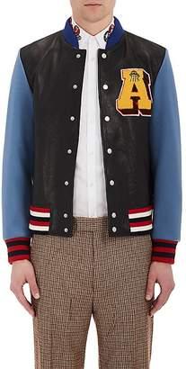 Gucci Men's Embellished Leather Varsity Jacket