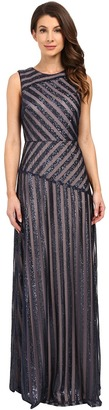 Donna Morgan - Gigi Boat Neck Striped Sequin Gown Women's Dress $320 thestylecure.com