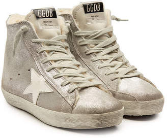 Golden Goose Francy Suede High-Top Sneakers with Shearling