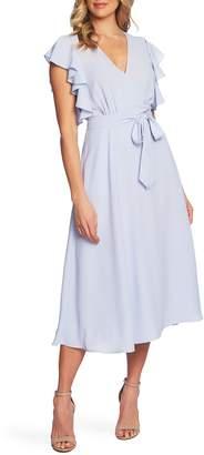 1 STATE 1.STATE Ruffle Detail Wrap Midi Dress