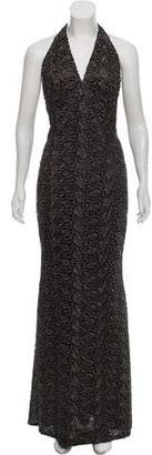 Carmen Marc Valvo Sleeveless Lace Maxi Dress