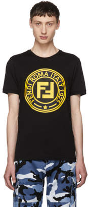 Fendi Black Roma Logo T-Shirt