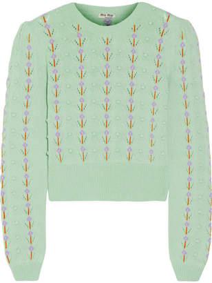 Miu Miu - Pointelle-trimmed Cashmere Sweater - Mint