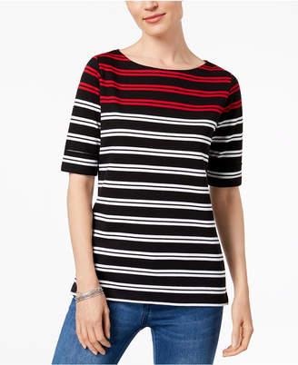 Karen Scott Petite Striped Elbow-Sleeve Top, Created for Macy's