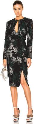 Erdem Hedy Jacquard Chrissy Dress in Black & Silver | FWRD
