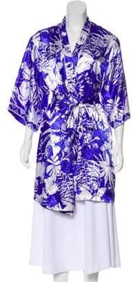 Oscar de la Renta Printed Long Sleeve Kimono