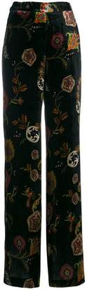 Etro embroidered flared trousers