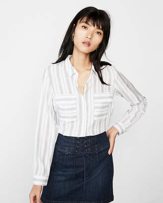 Express Petite Stripe Round Hem City Shirt