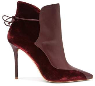 Malone Souliers By Roy Luwolt - Jordan Velvet And Leather Ankle Boots - Womens - Burgundy