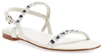Stuart Weitzman Embellished Flat Sandal - Narrow Width Available $398 thestylecure.com