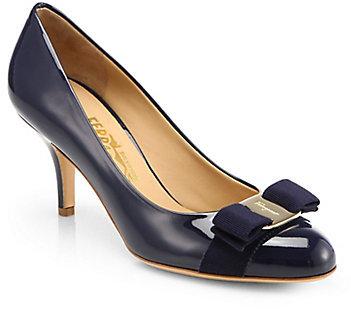 Salvatore Ferragamo Carla Patent Leather Bow Pumps