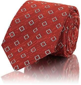 Kiton Men's Diamond-Pattern Slub-Weave Silk Necktie