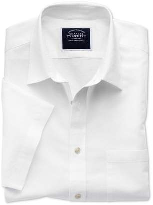 Charles Tyrwhitt Slim Fit White Cotton Linen Short Sleeve Cotton Linen Mix Casual Shirt Single Cuff Size XS