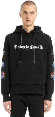 Roberto Cavalli Snake Printed Hooded Cotton Sweatshirt