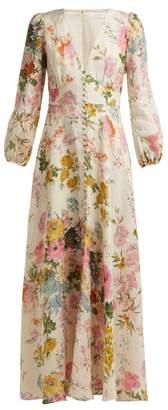 Zimmermann Heathers Floral Print Linen Dress - Womens - Pink Print