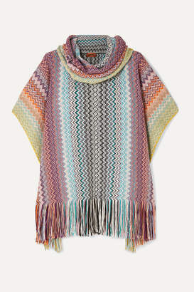 Missoni Fringed Metallic Crochet-knit Poncho - Pink