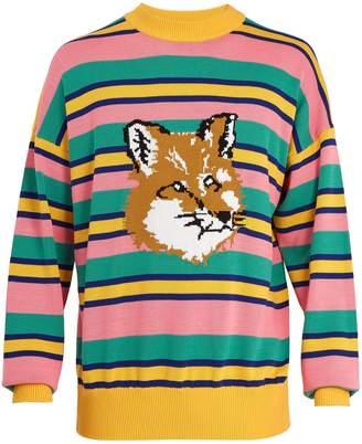 MAISON KITSUNÉ ADER ERROR X Striped crew-neck sweater