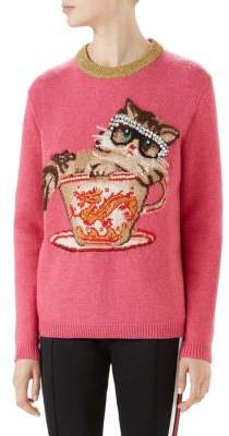 Gucci Long Sleeve Wool Cat Tea Cup Pearl Sweater