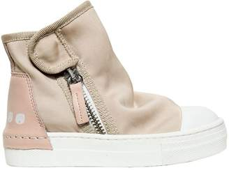Stretch Cotton Canvas High Top Sneakers