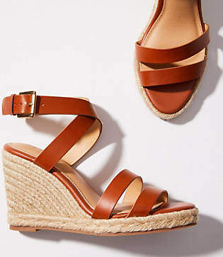 LOFT Criss Cross Espadrille Wedge Sandals