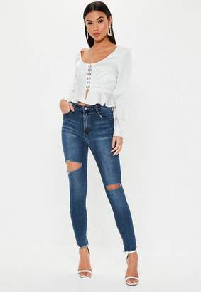 Missguided Skinny Thigh Rip High Waisted Jeans