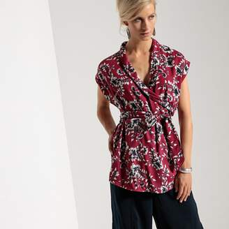 Anne Weyburn Printed Sleeveless Blouse with Shawl Collar