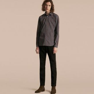 Burberry Slim Fit Pyjama Stripe Cotton Poplin Shirt $550 thestylecure.com